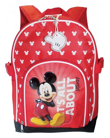 Sac à dos maternelle Mickey sur fond rouge