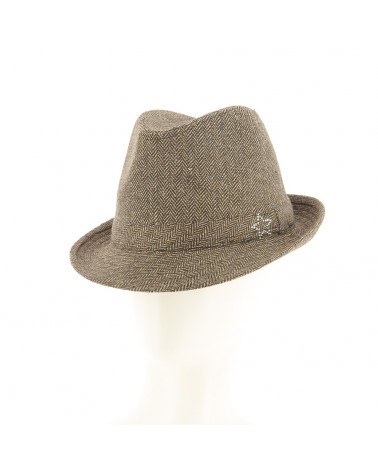 Chapeau  à carreaux marron