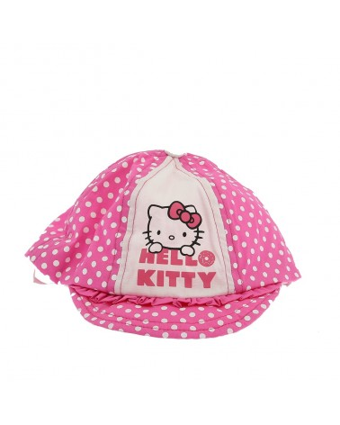 Casquette bébé rose à pois blancs Hello Kitty